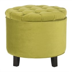 Safavieh Amelia Oak Tufted Storage Ottoman in Asparagus