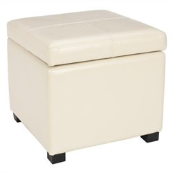 Safavieh Elizabeth Beech Wood Leather Storage Ottoman in Cream