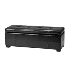Safavieh Large  Maiden Tufted Leather Storage Bench in Black