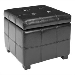 Safavieh William Leather Tufted Storage Ottoman in Black