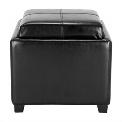 Safavieh Harrison Single Tray Leather Tray Ottoman in Black