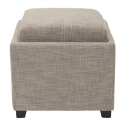 Safavieh Carter Polyester Viscose Tray Ottoman in Grey