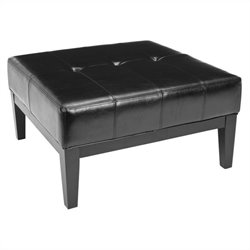 Safavieh Aubrey Leather Cocktail Ottoman in Black