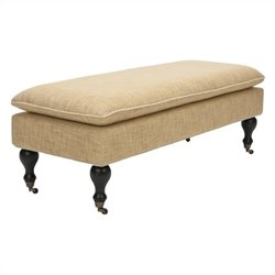 Safavieh Maggie Beech Wood Pillowtop Bench in Gold