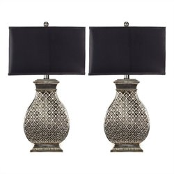 Safavieh Spain Table Lamp in Silver with Black Satin Shade (Set of 2)