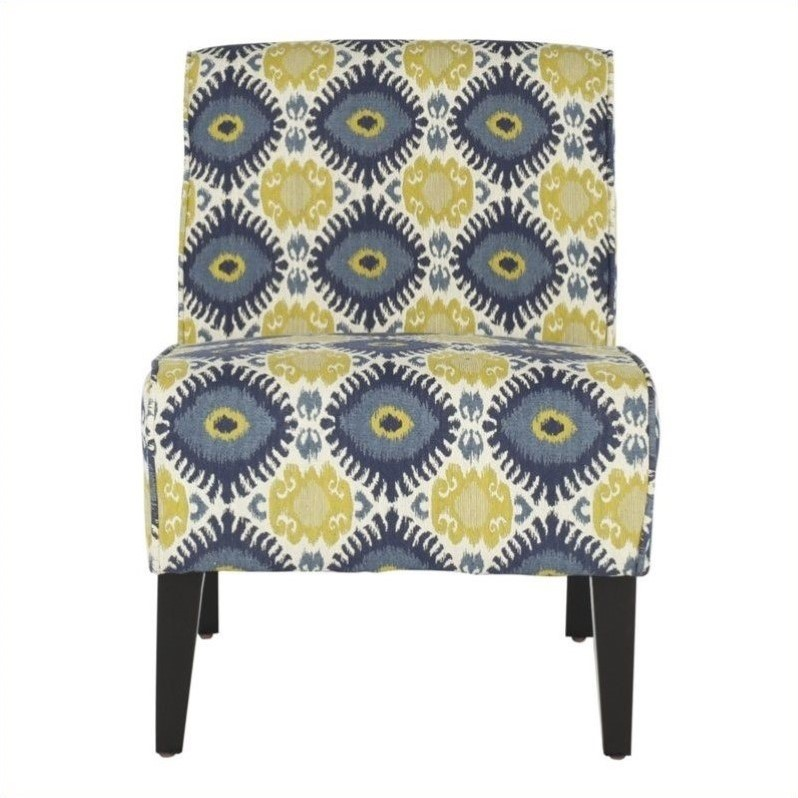 Safavieh Rolin Upholstered Slipper Chair in Green Floral Pattern