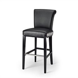 Safavieh Seth Leather Bar Stool in Black