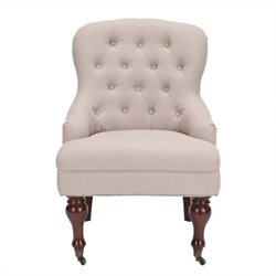Safavieh Madeline Birch Wood Upholstered Tufted Slipper Chair in White
