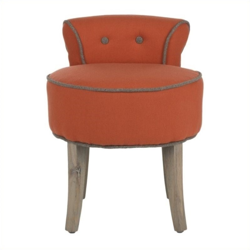 Safavieh Georgia Birch Wood Vanity Stool in Orange