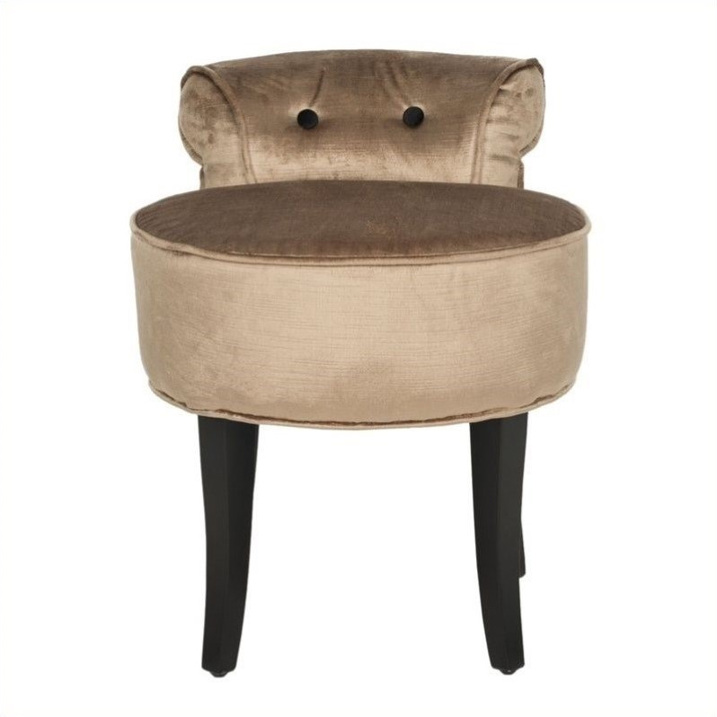 Safavieh Georgia Birch Wood Vanity Stool in Mink Brown