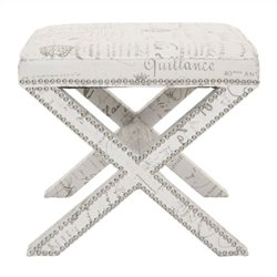 Safavieh Palmer Birch Wood Ottoman in White with French Writing