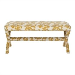 Safavieh Melanie Birch Wood Extended Bench in Maize and Beige Print