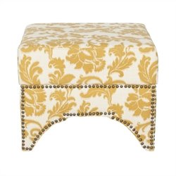 Safavieh Declan Linen and Cotton Ottoman in Maize and Beige