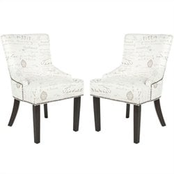 Safavieh Gavin Brass Upholstered Slipper Swayback Chair in White and Gray (Set Of 2)