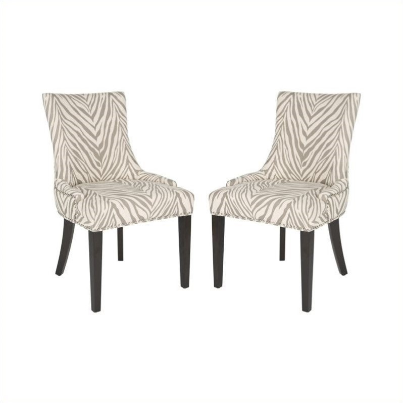 Safavieh Lester Dining Chair in Grey Zebra Set Of 2  : 446927 L from www.cymax.com size 798 x 798 jpeg 55kB