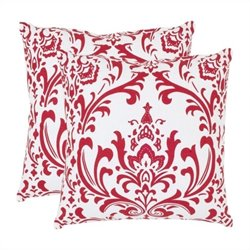 Safavieh Belos 22-inch Cotton Decorative Pillows in Red (Set of 2)