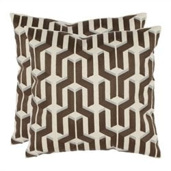 Safavieh Dawson 18-inch Cotton Decorative Pillows in Khaki (Set of 2)