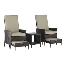 Serta Laguna 5 Piece Wicker Patio Reclining Sofa Set in Brown