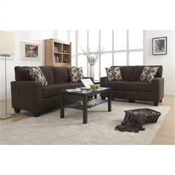 2 Piece Fabric Sofa Set in Mink Brown