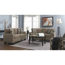 2 Piece Fabric Sofa Set in Platinum