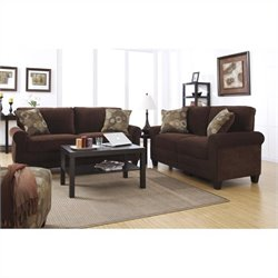 2 Piece Fabric Sofa Set in Chocolate