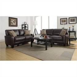 2 Piece Bonded Leather Sofa Set in Brown