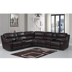 PRI Charlotte 7 Piece Reclining Sectional in Brown