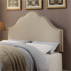 MER-1242 Glam Nailhead Upholstered Headboard in Oatmeal White