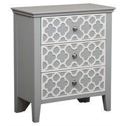 MER-1242 3 Drawer Quatrefoil Overlay Accent Chest