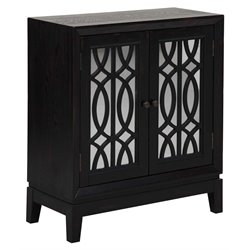 PRI Ogee Overlay Mirrored Door Accent Chest in Black