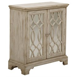 PRI Ogee Overlay Mirrored Door Chest in White Wash