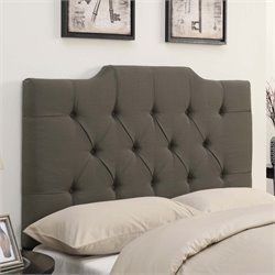 MER-1242 Saddle Back Button Tufted Headboard in Taupe Brown