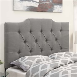 MER-1242 Saddle Back Button Tufted Headboard in Ash Gray