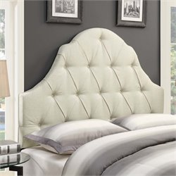 MER-1242 Shaped Camel Back Button Tufted Headboard in Beige