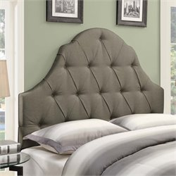 MER-1242 Shaped Camel Back Button Tufted Headboard in Taupe Brown