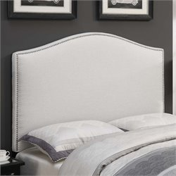 MER-1242 Camel Back Upholstered Headboard in Linen White