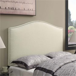 MER-1242 Camel Back Upholstered Headboard in Beige