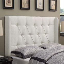 MER-1242 Shelter Button Tufted Headboard in Linen White