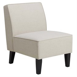 PRI Upholstered Armless Slipper Chair in Cream White