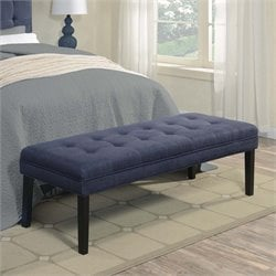 PRI Faux Denim Tufted Bedroom Bench in Blue