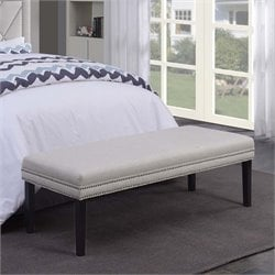 MER-1242 Nailhead Upholstered Bedroom Bench
