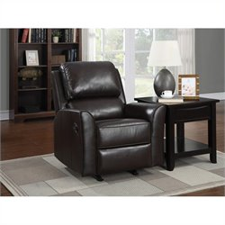 PRI Faux Leather Rocker Recliner in Brown