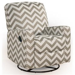 PRI Sutton Fabric Swivel Glider Recliner in Taupe