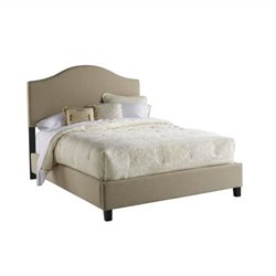 PRI Saddle Back Upholstered Queen Platform Bed in Beige