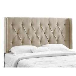 PRI Tufted Wingback Panel Headboard in Taupe