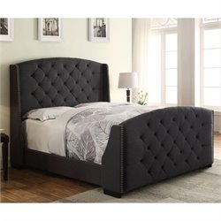PRI Upholstered Nailhead Queen Bed in Linosa Charcoal