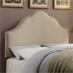 PRI Glam King Fabric Upholstered Nailhead Headboard in Oatmeal