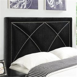 PRI Velvet Upholstered X Nailhead Headboard in Black