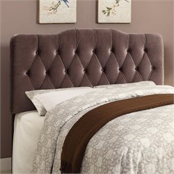 PRI Velvet Upholstered Soft Shape Headboard in Slate