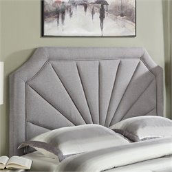 PRI Fabric Upholstered Fan Panel Headboard in Hayden Silver